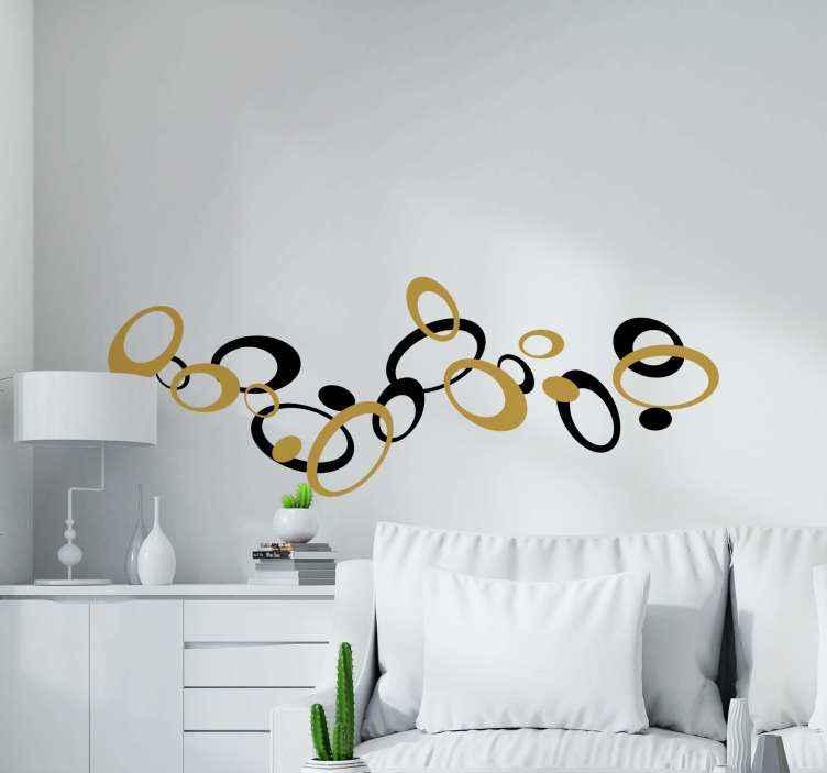 TenStickers. Cirkel stickers Creatieve ellipsen. Mooie creatieve en decoratieve geometrische vorm sticker gemaakt in goud en zwart. Het afgebeelde ontwerp is decoratief en gemaakt van hoogwaardig vinyl.