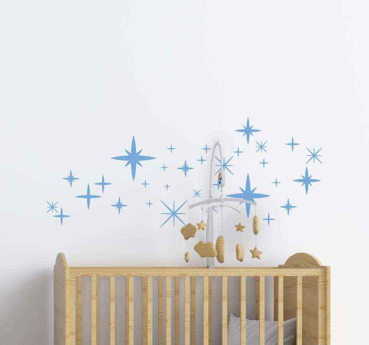 TENSTICKERS. ミニマリストスタースペースデカール. 子供の寝室のための装飾的な星スペースウォールステッカーデザイン。デザインはさまざまなサイズと色のオプションで利用可能です。