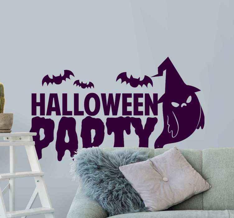 TenVinilo. Vinilo Halloween fiesta con fantasma. Vinilo halloween para con diferentes diseños aterradores como murciélagos y fantasmas. Disponible en diferentes colores ¡Envío a domicilio!