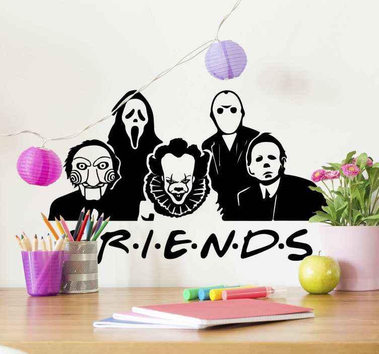 TenVinilo. Vinilo Friends personajes vestidos Halloween. ¿Has visto la serie 'Friends'? Si sí, puedes decorar tu hogar con la versión Halloween con este vinilo Halloween ¡Envío a domicilio!