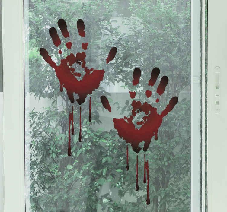 TenVinilo. Vinilo Halloween huellas mano sangre. Vinilo halloween con huellas de manos ensangrentadas. Diseño realista y aterrador para  hogar y otros espacios ¡Envío a domicilio!
