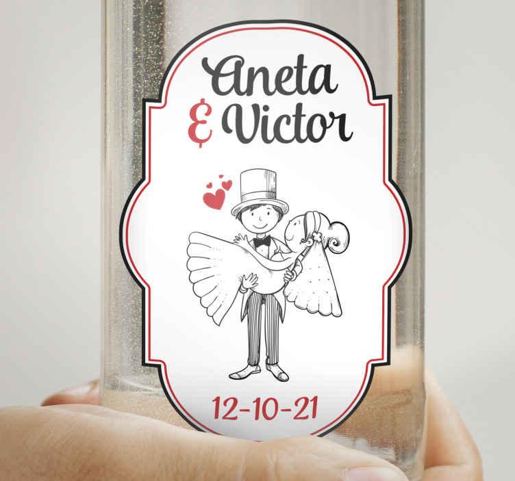 TENSTICKERS. ウェディングボトルタリーウェディングビニールデカール. この素晴らしいデザインであなたのウォッカの結婚式のステッカーをカスタマイズします。あなたのクラスの好みにゲストを感動させてください。簡単に適用できます。