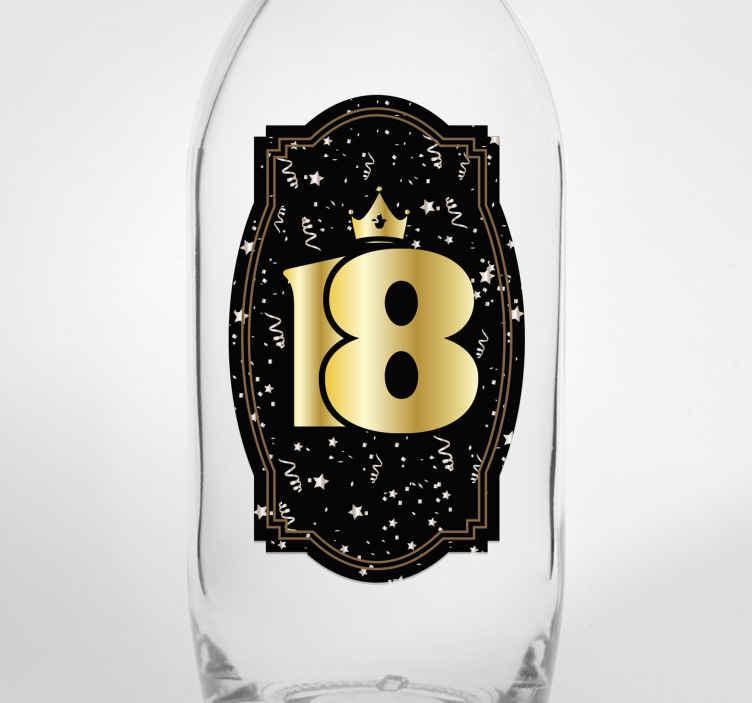 TenVinilo. Pegatina para cumpleaños negra número 18. Pegatina de cumpleaños para pared de 18 años perfecto para colocar en botella. Diseño perfecto para superficie plana ¡Envío a domicilio!
