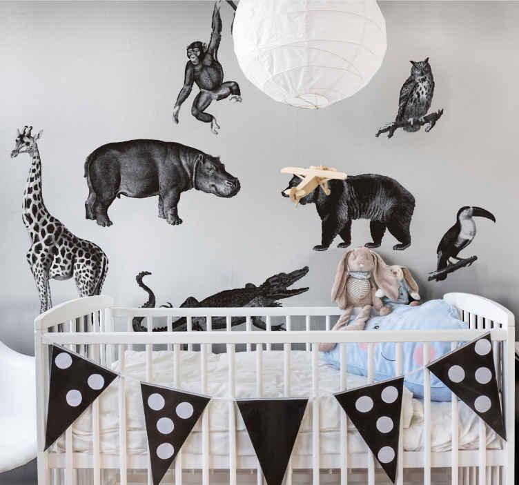 TENSTICKERS. 黒と白のジャングルの野生動物のステッカー. 子供のジャングルを美しく装飾するジャングルの動物の壁のアートデカール。ジャングルの雰囲気を表現します。適用が簡単で高品質。