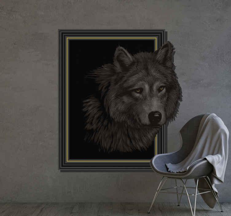 TENSTICKERS. 3dオオカミの視覚効果の壁用ステッカー. 3d狼の視覚効果の壁用ステッカー。それは背景から引き出されているオオカミの視覚効果を持つフレームスタイルの背景面に設計されています。