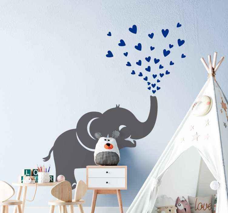 TENSTICKERS. 象スプレーハート野生動物ステッカー. かわいい装飾的な動物の壁のアートデカール。小さな象は、トランクからハートブルーの形をスプレーする機能を備えています。適用が簡単で耐久性に優れています。