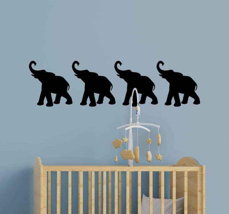 TenVinilo. Vinilo infantil elefante en silueta alzando trompa. Conjunto decorativo de vinilo infantil elefante de silueta para decorar un dormitorio infantil. Original y disponible en 50 colores ¡Envío a domicilio!