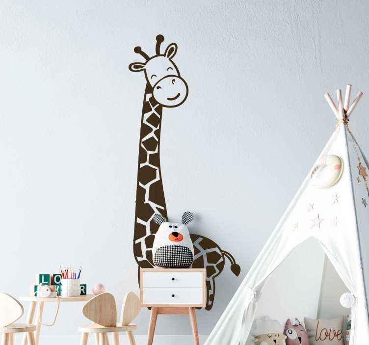 TenVinilo. Vinilo bebé jirafa feliz caminando. Vinilo habitación bebé de jirafa para el dormitorio de los niños. Disponible en diferentes opciones de color y tamaño ¡Envío a domicilio!