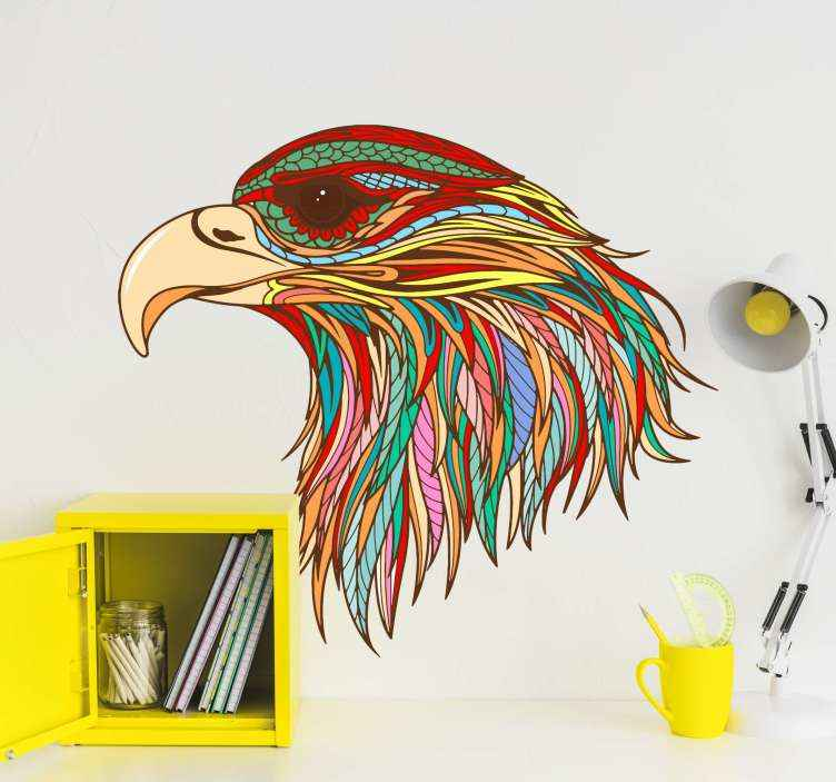 TENSTICKERS. 頭ワシの羽鳥デカール. カラフルな装飾的なワシの鳥の壁のステッカー。デザインはマルチカラーの外観で作成されており、どのスペースでも非常に魅力的に見えます。