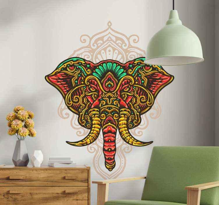 TENSTICKERS. ダンブッラ象のマンダラ野生動物ステッカー. 象徴的な部族の象のステッカーデザイン。デザインは、マンダラ柄の象の頭の色とりどりの外観です。簡単に適用できます。