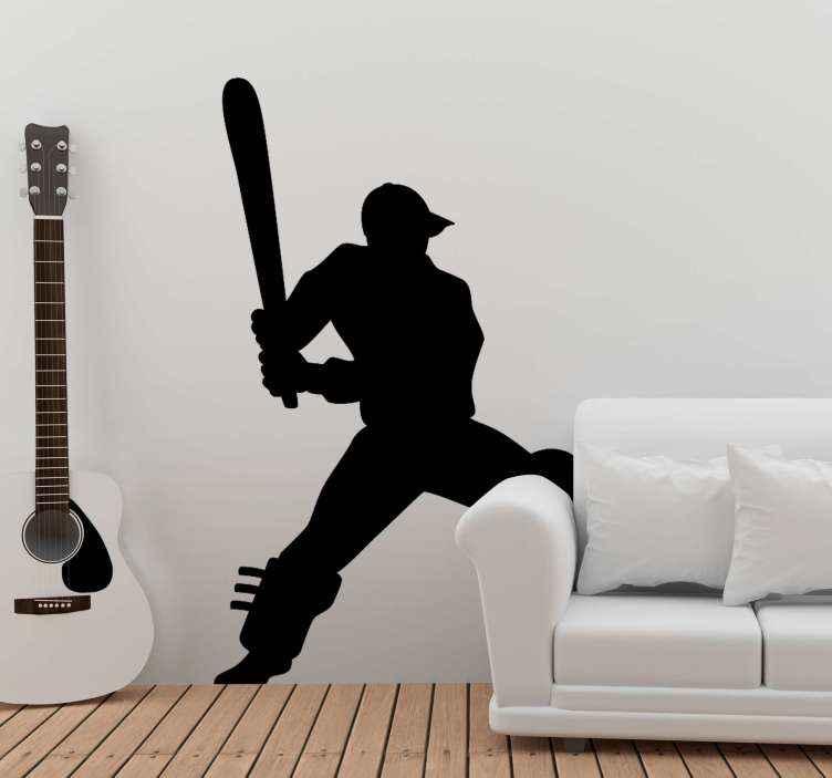 TENSTICKERS. クリケット選手のシルエットの壁用ステッカー. 装飾的なクリケット選手のシルエットの壁のステッカー。十代の寝室のスペースやその他のスペースに適した装飾的なデザイン。任意のサイズでご利用いただけます。
