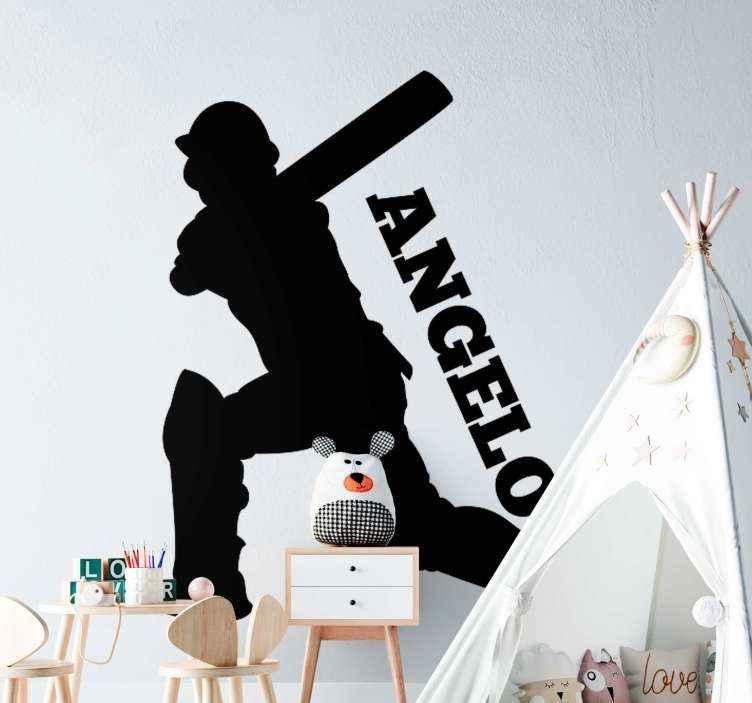TenVinilo. Vinilo habitacion juvenil de jugador cricket personalizable. Vinilo habitación juvenil jugador de cricket con nombre personalizado para la habitación de niños y adolescentes aficionados ¡Envío a domicilio!