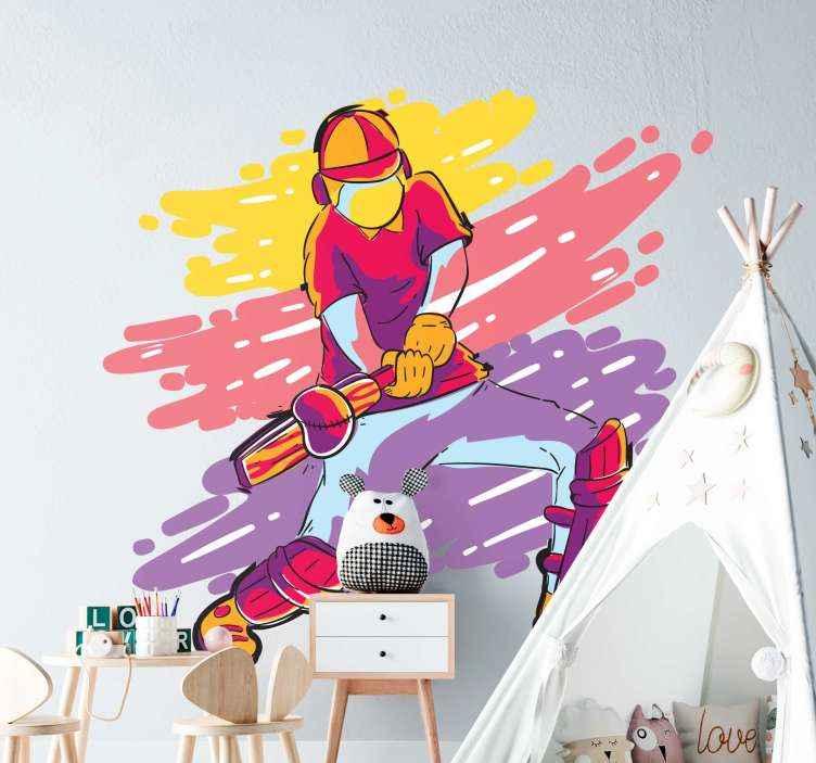 TenVinilo. Vinilo habitación juvenil jugador cricket colorido. Vinilo habitación juvenil de jugador de cricket para colocar en el cuarto de adolescente o persona amante del deporte ¡Envío a domicilio!