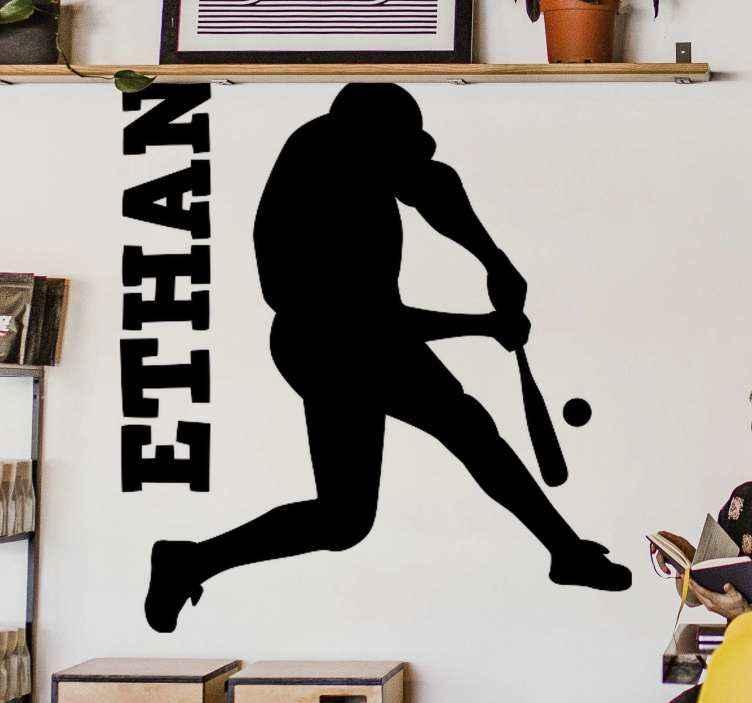 TENSTICKERS. クリケット打者プレーヤーカスタムステッカー. パーソナライズされた名前のクリケット打者プレーヤーステッカー。クリケットに興味と情熱を持っている子供と10代の部屋に適したデザイン。