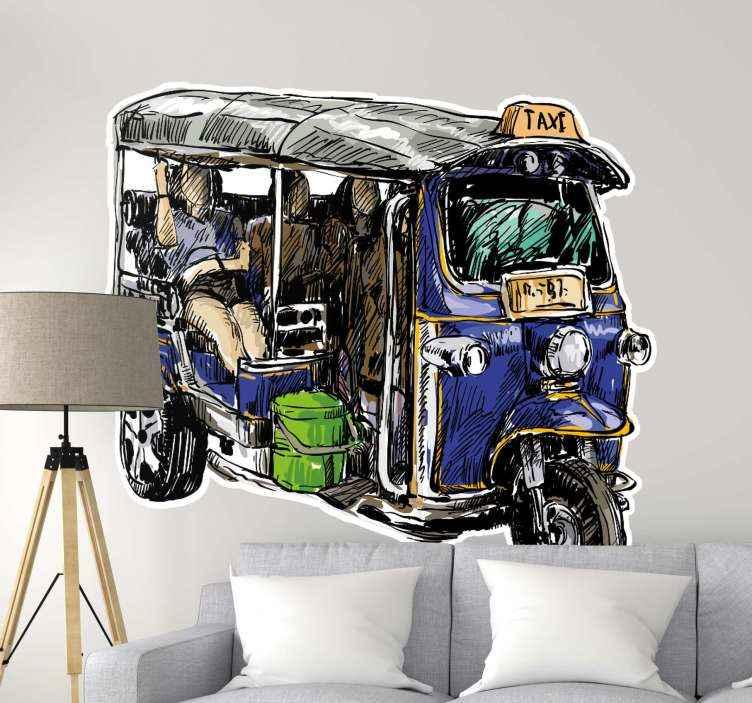 TenVinilo. Vinilo pared mototaxi tuk tuk azul. Vinilo de tuktuk azul dibujado para decorar tu casa con un estilo vintage original. Producto de calidad y de fácil colocación ¡Envío a domicilio!