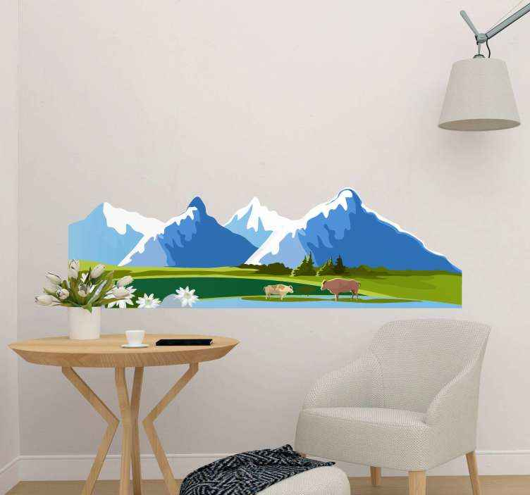 TENSTICKERS. 動物都市と緑の山々ステッカー. 動物のデカールが付いている山々の美しい風景。どんな平面にもよく似合います。それは高品質のビニールで作られ、簡単に適用できます。
