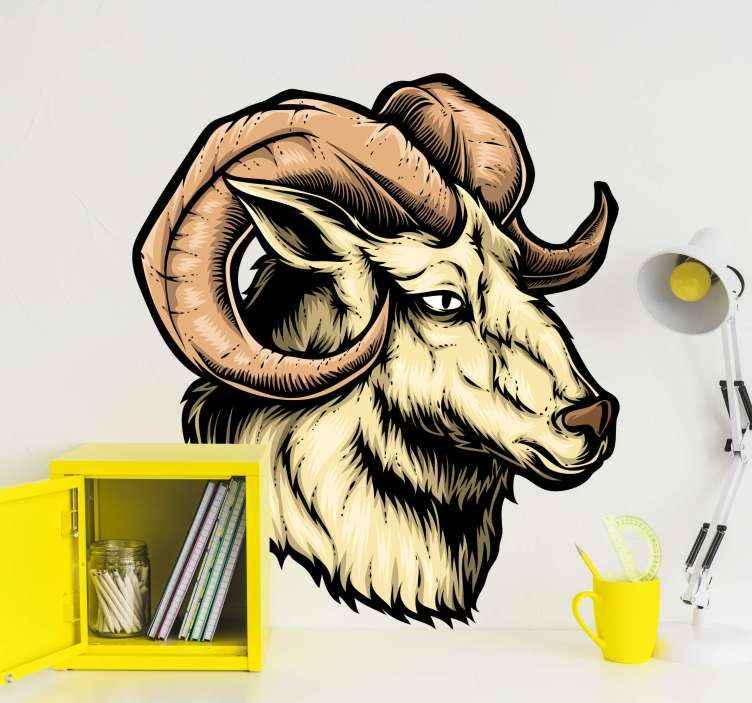 TenVinilo. Vinilo de animales salvajes cabra montés. Vinilo de animales salvajes con cabra de montaña para decorar cualquier estancia que elijas. Producto original y duradero ¡Envío a domicilio!