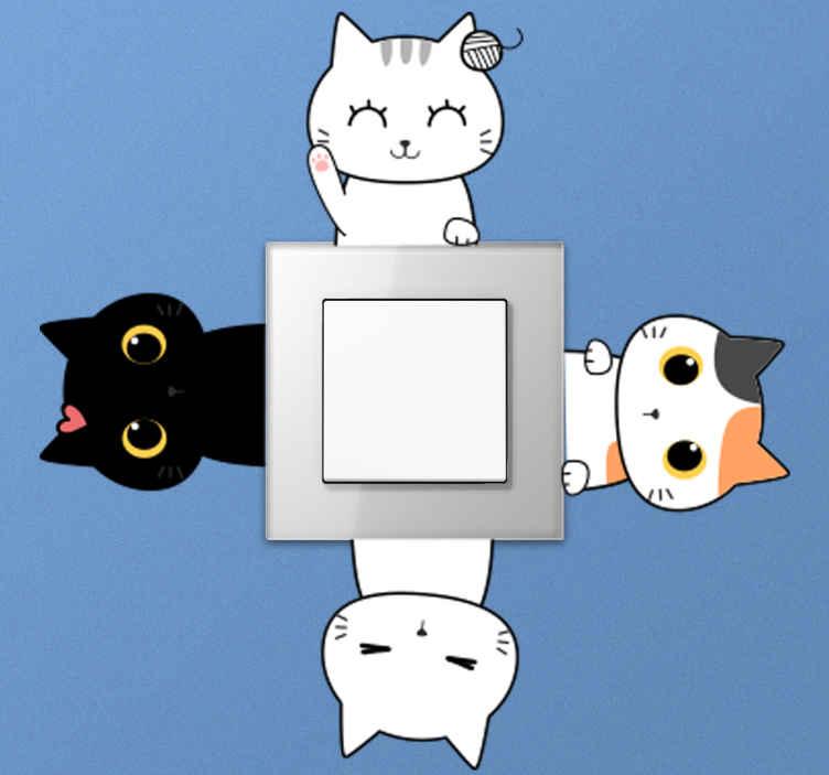TENSTICKERS. 別の猫の光スイッチカバーデカール. ライトスイッチスペースを飾るためのライトスイッチ用の装飾的な別の猫のステッカー。このデザインは、ライトスイッチの任意のコーナーに装飾できます。