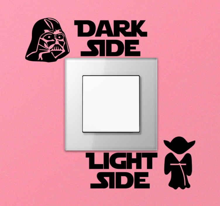 """TenVinilo. Pegatina para interruptores lado oscuro lado claro. Pegatina para interruptores de luz de la película Star Wars con el texto """"lado oscuro"""" y """"lado claro"""" para indicar ¡Envío a domicilio!"""