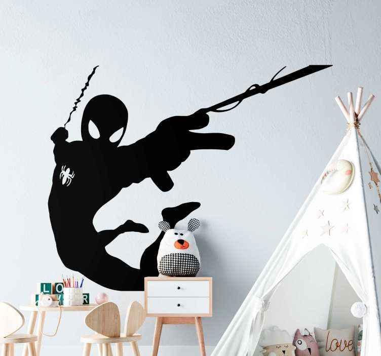 TenVinilo. Vinilo para niños Spiderman volando telarañas. Vinilo spiderman habitación infantil para decorar el dormitorio de niños y adolescentes. Fácil de aplicar ¡Envío a domicilio!