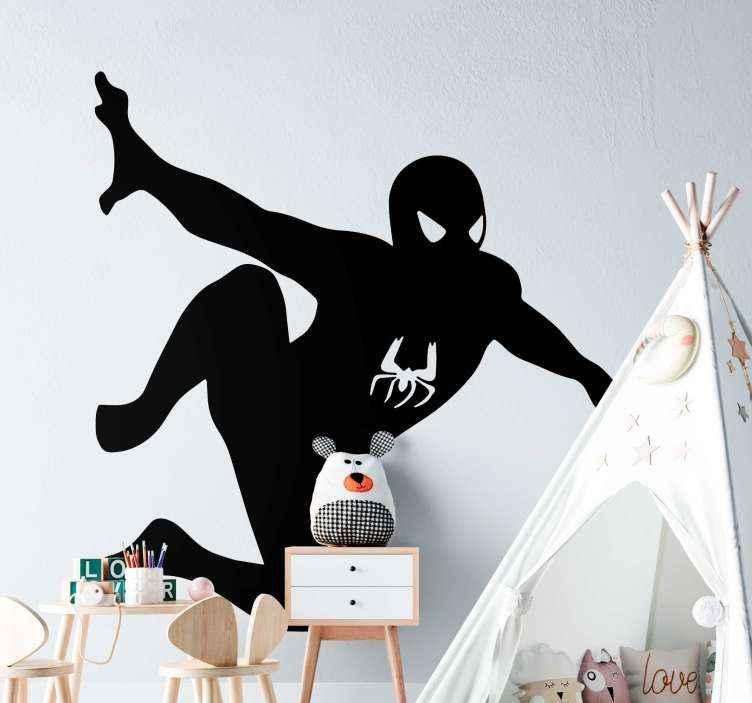 TenVinilo. Vinilo para niños Spiderman volando. Dele a su hijo adolescente o niño el placer y la emoción de su personaje favorito con este vinilo Spiderman volando ¡Envío a domicilio!
