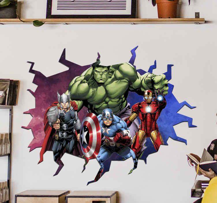 TenStickers. 3d naljepnica za vizualne efekte osvetnika. Ukrasne zidne naljepnice za superheroja s vizualnim efektima osvetnika s različitim junacima iz filmova i video igara.