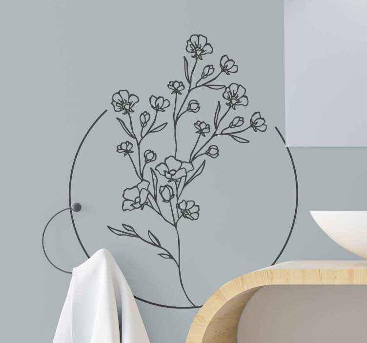 TENSTICKERS. シンプルな花の花壁デカール. 選択したスペースを美しくするために使用できる装飾用のシンプルなフラワーステッカー。丸い線が描かれた典型的な顕花植物。