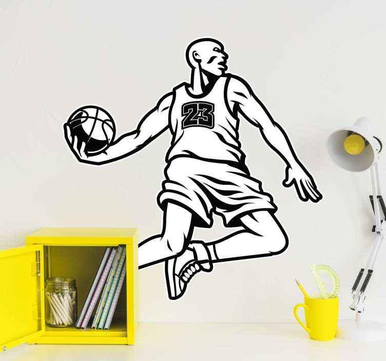 TENSTICKERS. 採点バスケットボールステッカー. スコアにジャンプするバスケットボール選手のステッカーを描く。バスケットボールへの関心と情熱を持って10代と子供たちの空間を飾るデザイン。