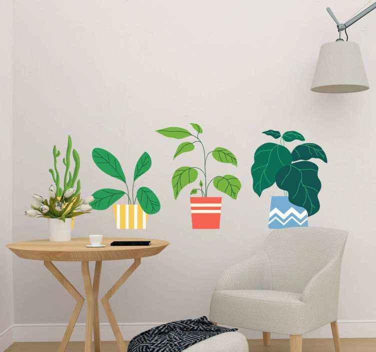 TENSTICKERS. 装飾的な植木鉢植物デカール. カラフルな観賞用花植物ステッカーデザイン。選択した任意の平らな面にきれいで適切なデザイン。適用が簡単で高品質。