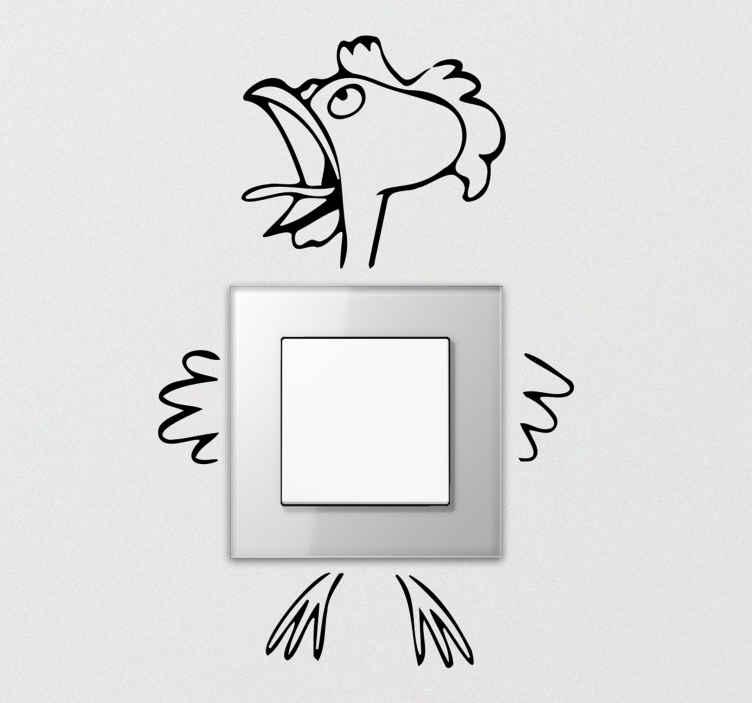 TenStickers. Muursticker stopcontact Verpletterde pik. Tekenkunst pik lichtschakelaar sticker van een haan. Het ontwerp toont een verpletterde haan die zijn lichaam in stukken heeft gespleten. Verkrijgbaar in verschillende kleuropties.