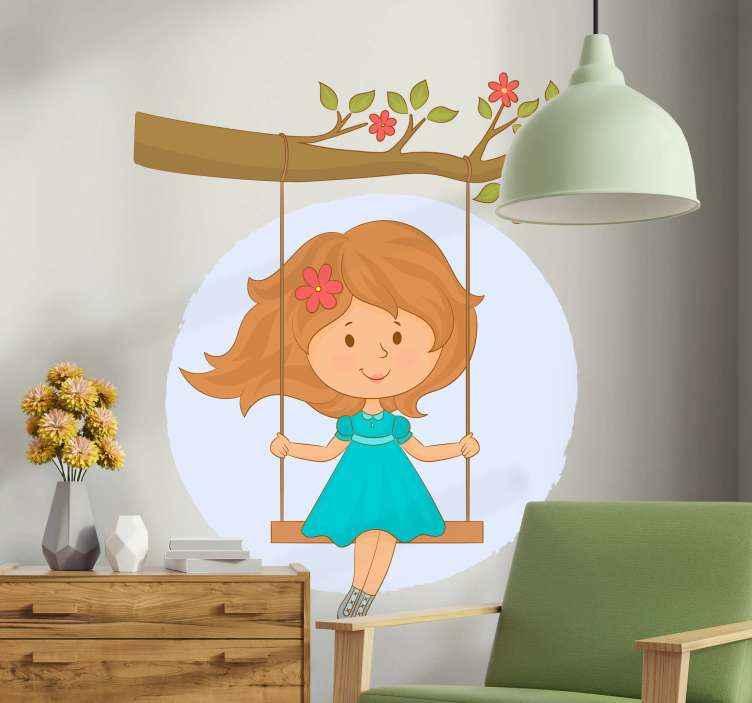 TenStickers. Samolepka na strom a houpačku. Dekorativní stromová samolepka na zeď vytvořená s designem dívky na houpačce pověšené na stromě. Design je vhodný pro dětský pokoj.