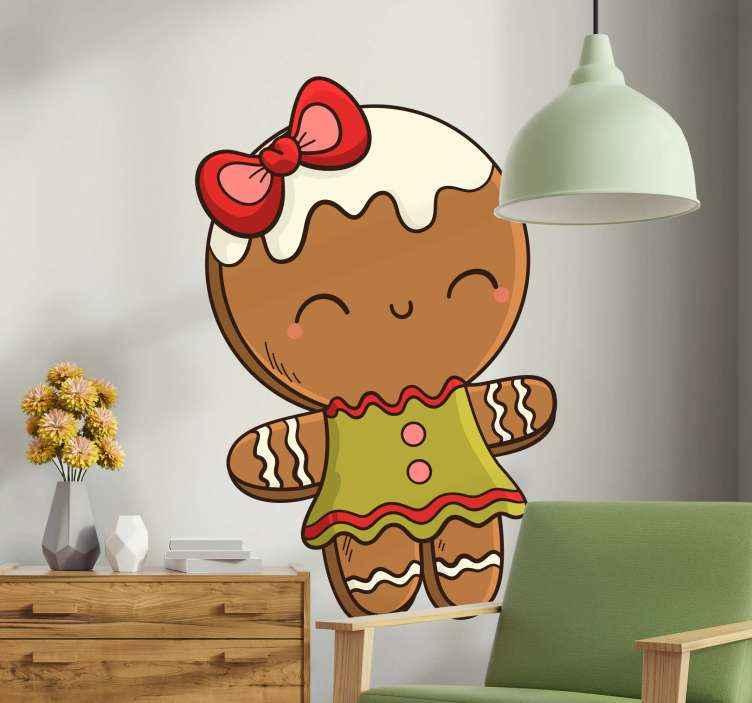 TENSTICKERS. ジンジャーブレッドガールのクリスマスウォールステッカー. 装飾的なジンジャーブレッドの女の子のクリスマスデカール。女の子のための適切な興味深いデザイン。デザインは、選択した任意の平面に適用できます。