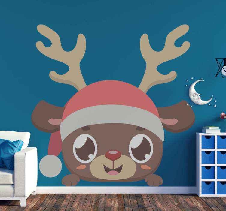 TENSTICKERS. 覗くトナカイクリスマスウォールステッカー. 装飾的な覗くトナカイクリスマスステッカー。デザインはおかしく、子供の寝室のスペースのための興味深いものに見えます。