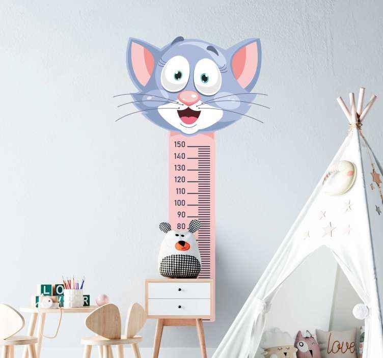 TENSTICKERS. 子供用巻尺ガラスドアステッカー. 子供のための身長チャートのファンキーなデザインのステッカー。この設計は、マウスを上部に配置した、適切に調整された垂直メーター測定です。