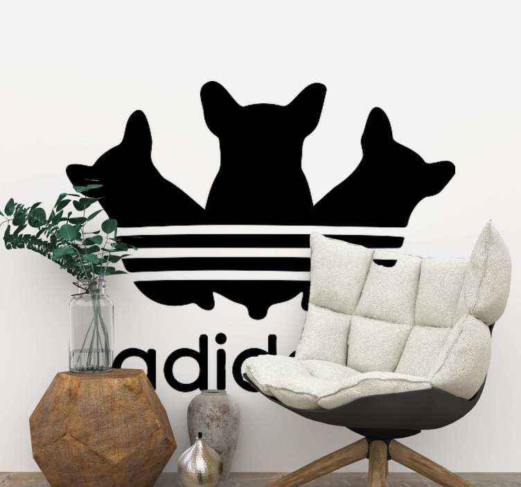 TENSTICKERS. 動物を愛するアディダスアディダススタイルのウィンドウデカール. アディダスのロゴに似たテキストとキャラクターの特徴で作成されたかわいいデザインの犬のステッカーのセット。適用が簡単で高品質です。