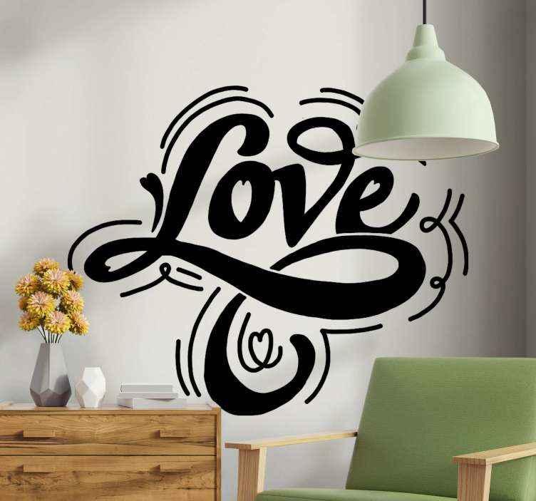 TenStickers. Tekst stickers Hou van tekst met hart. Liefde tekst met hart muursticker. Stijlvol en mooi eenvoudig ontwerp om een ruimte te versieren en het een chique tintje te geven. Verkrijgbaar in verschillende kleuropties.