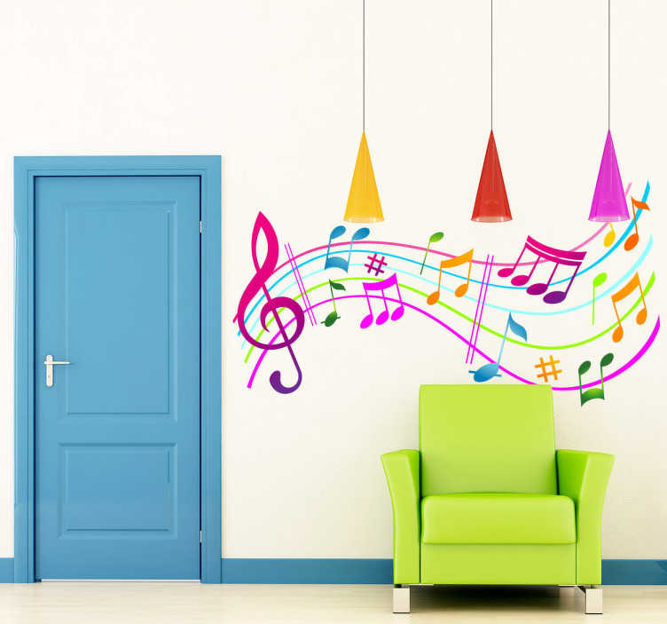 TenStickers. Coloured Musical Notes. Vinyl wall sticker illustration. Add a splash of colour to your room and bring it alive with musical notes on the walls.