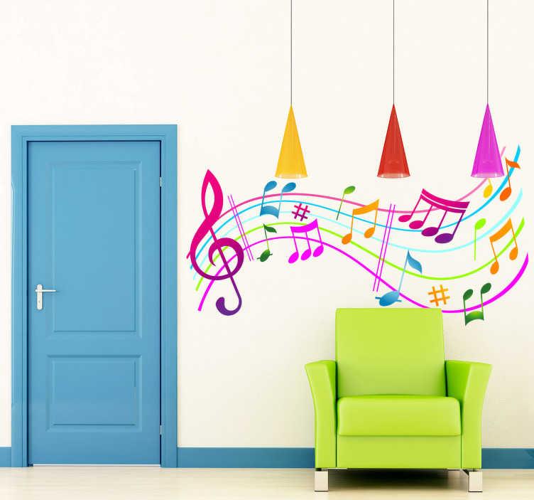 TenStickers. Vinil decorativo notas musicais com cores. Vinil decorativo de uma pauta e diferentes notas musicais coloridas. Adesivo de parede ideal para habitações destinadas a crianças.