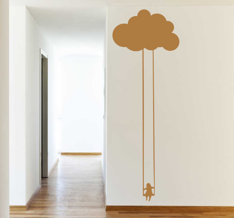 TenStickers. 아이는 구름 스윙 데칼에. 구름에 아이 스윙 벽 스티커 - everyone's 꿈 스윙에 여자의 창조적 인 디자인. 우리의 구름 스티커 범위에서. 독특한 아이디어를 사랑하는 사람을위한 일러스트레이션 데칼입니다.