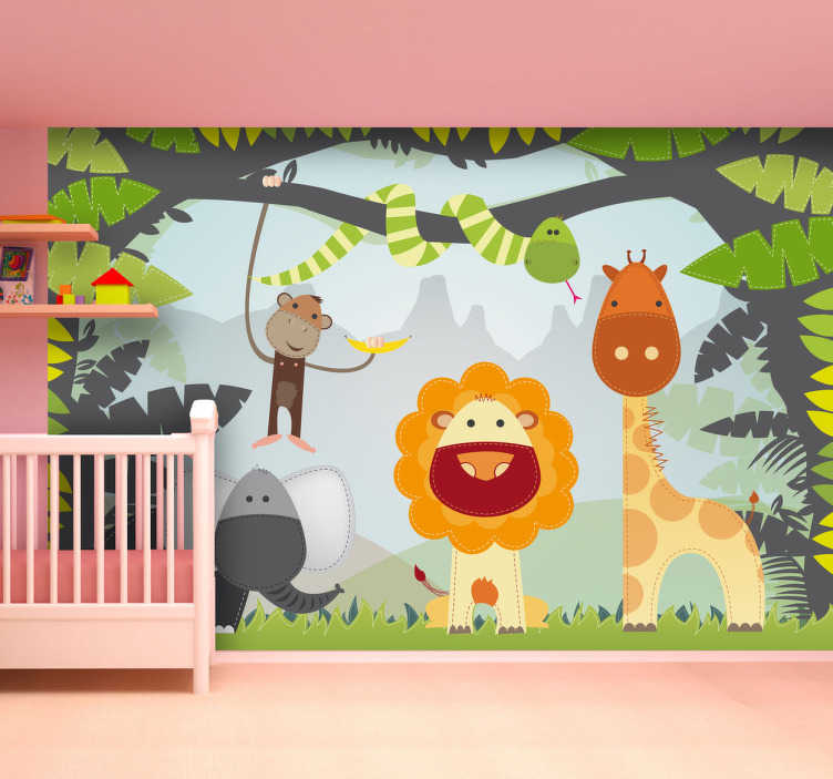 TenStickers. Naklejka dla dzieci afrykańska puszcza. Naklejka na ścianę dzięki której stworzysz w pokoju dziecięcym prawdziwą dżunglę. Obrazek przedstawia różne zwierzęta na tle tropikalnych roślin.