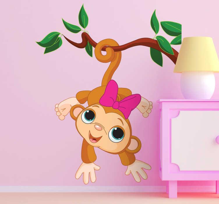 Naklejka dla dzieci zwisająca małpka