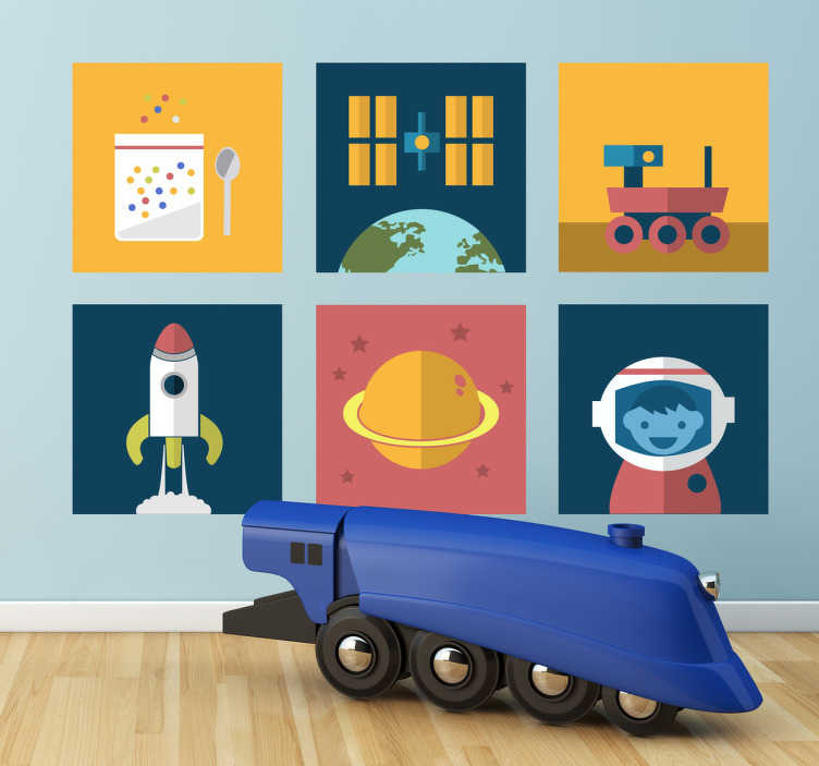 TenStickers. Kids Space Tiles Decals. Collection of six space themed wall tiles to place around the as you like. Ideal for little space explorers. Available in various sizes.