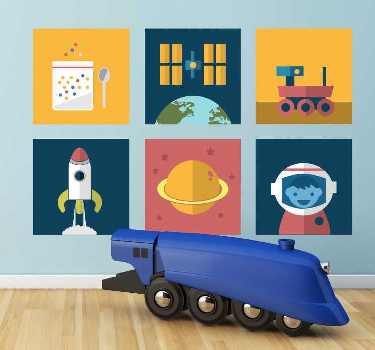 TenStickers. Sticker kind ruimte astronaut raket. Deze muursticker omtrent verschillende vormen die typerend zijn voor de ruimte zoals een raket. Ideaal voor kinderen!