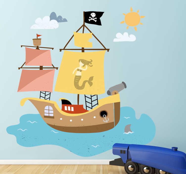 TENSTICKERS. 海賊船の子供の壁のステッカー. 自宅で小さなもののための海賊船の素晴らしい海賊の壁のステッカー。この子供の壁のデカールは、私たちの海の壁のステッカーのコレクションからのデザインの一つです。ゴールドとロイヤルジュエリーがいっぱいの宝箱を探して、7つの海を航海しましょう!
