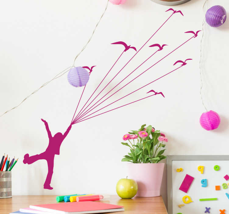 TenStickers. Kids Flying Birds Wall Sticker. Kids Wall Stickers - Inspired by the book The Little Prince a young character being lifted away by birds. Silhouette design ideal for children.