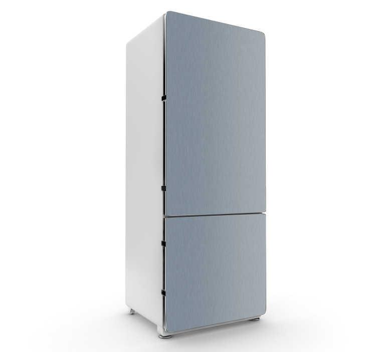 TenVinilo. Vinilo nevera simulación acero. Ahora tu nevera blanca puede convertirse en un mueble de acero inoxidable. Indícanos el ancho y el alto de tu frigorífico para adaptar el diseño.