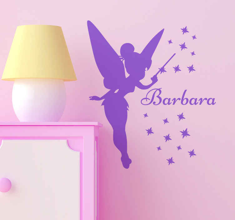 TenStickers. Custom Tinker Bell Silhouette Sticker. A creative Tinker Bell decal that we can personalise with your daughter's name! Brilliant design from our collection of Peter Pan wall stickers.
