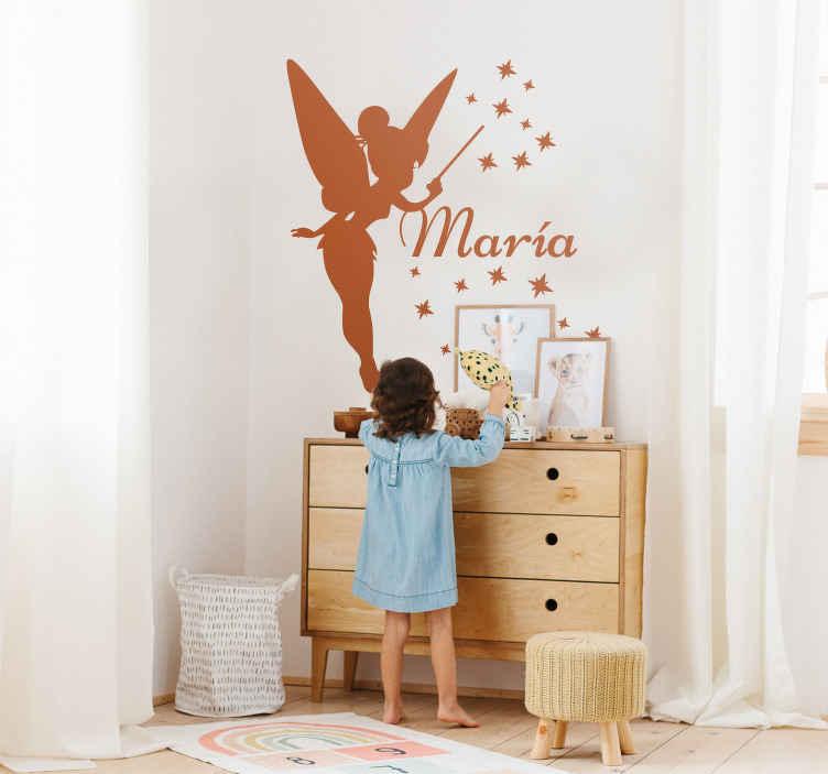 TenStickers. Sticker personnalisé silhouette fée. Personnalisez la chambre de votre petite fille avec ce design pensé pour elle.