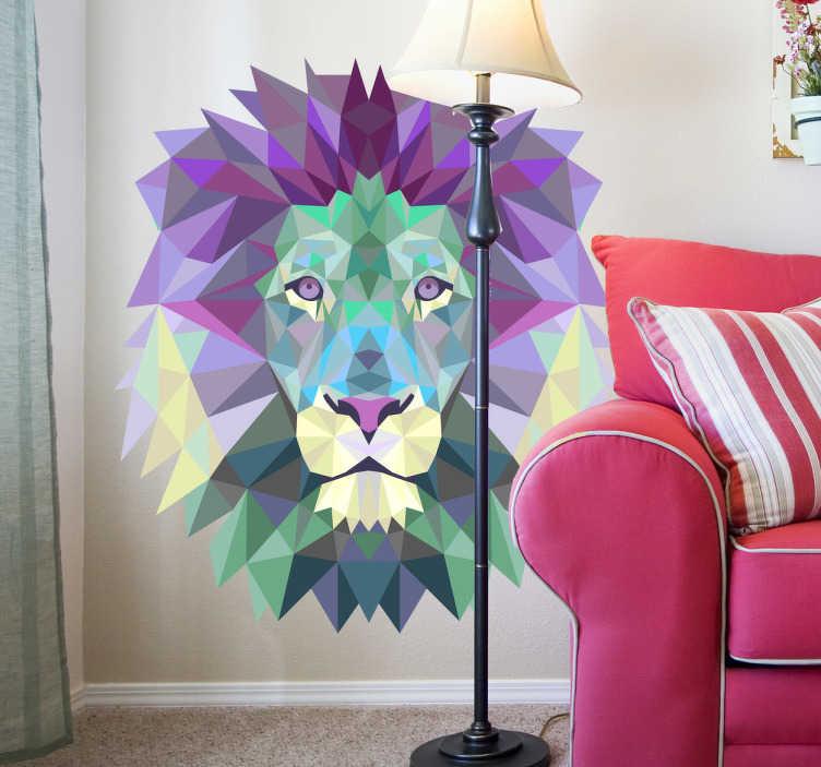 TENSTICKERS. 芸術的なライオンヘッドティールステッカー. 激しいライオン、ジャングルの王の印象的な幾何学的な壁のステッカー。あなたの居間や寝室を飾るために最適な、青の壁のステッカーのコレクションから特徴的なカラフルな機能。