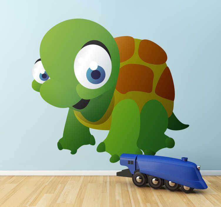 TenStickers. Sticker schildpad kinderen. Een leuke muursticker van een prachtige schildpad.  Een leuk idee voor de decoratie van de speelhoek of slaapkamer van uw kinderen.